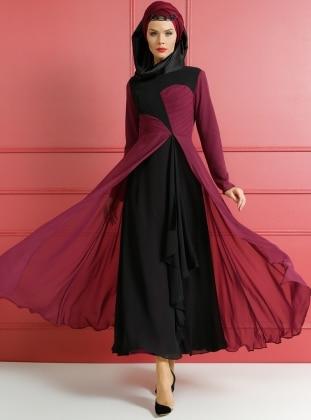 Drape Detaylı Abiye Elbise - Mürdüm Siyah