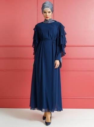 Fırfırlı Abiye Elbise - Lacivert