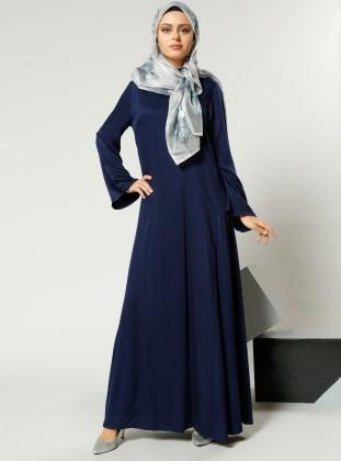Naturel Kumaşlı Salaş Elbise - Lacivert