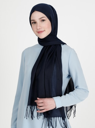 Fringe - Plain - Navy Blue - Pashmina - Shawl