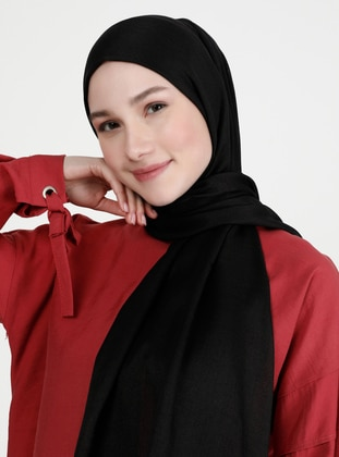 Fringe - Plain - Black - Pashmina - Shawl