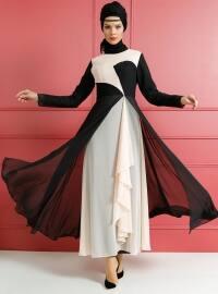 Drape Detaylı Abiye Elbise - Siyah Pudra - Dersaadet