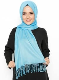 Fringe - Plain - Blue - Pashmina - Shawl