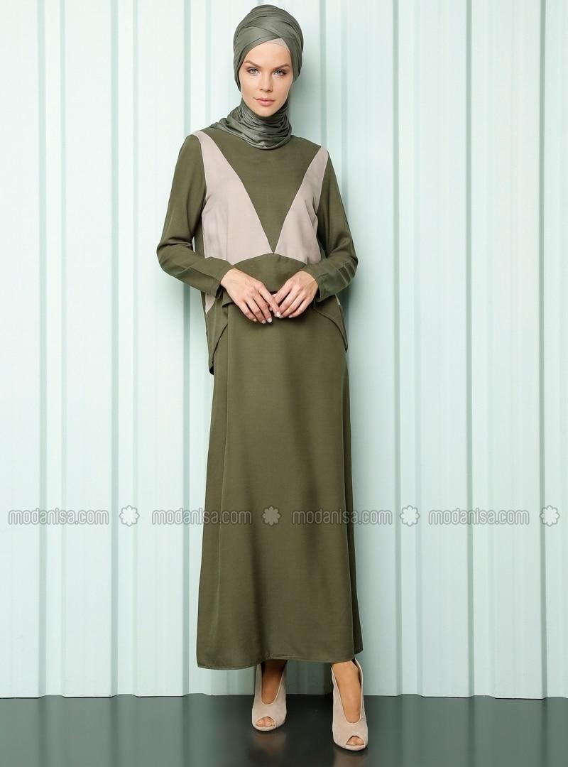 İki parçalı elbise - Haki / Bej