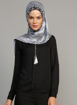 Zincir Detaylı Bluz - Siyah Ulviye Portakal