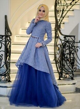 Muslim Evening Dress - Blue - Minel Ask 239713