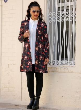 Çiçekli Ceket - Siyah Azra Özer
