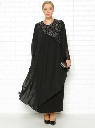 Drop Baskılı Abiye Elbise - Siyah - he&de