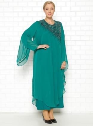 He & De Drop Baskılı Abiye Elbise - Yeşil - he&de