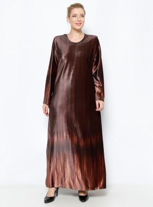 He & De Drop Baskılı Kadife Elbise - Kahverengi - he&de