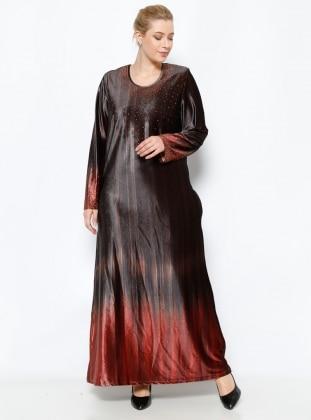 Drop Baskılı Kadife Elbise - Kırmızı - he&de