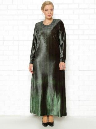 Drop Baskılı Kadife Elbise - Yeşil - he&de