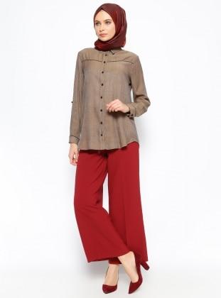 Geniş Paça Pantolon - Bordo Eva Fashion