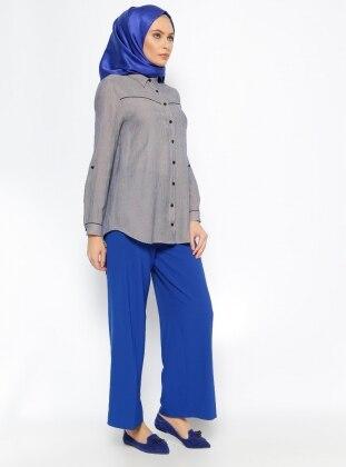 Geniş Paça Pantolon - Saks Eva Fashion