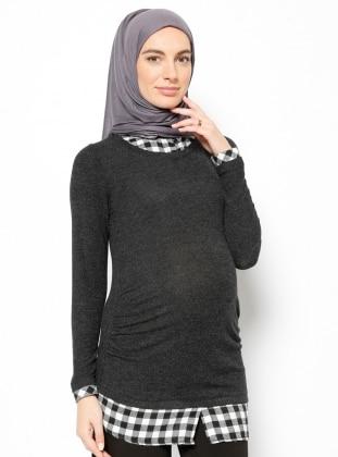 Gömlek Yaka Hamile Bluz - Siyah - Gör & Sin Gör & Sin
