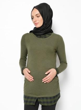 Gömlek Yaka Hamile Bluz - Yeşil - Gör & Sin Gör & Sin