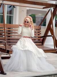 Ayperi Abiye Elbise - Ekru - Minel Aşk