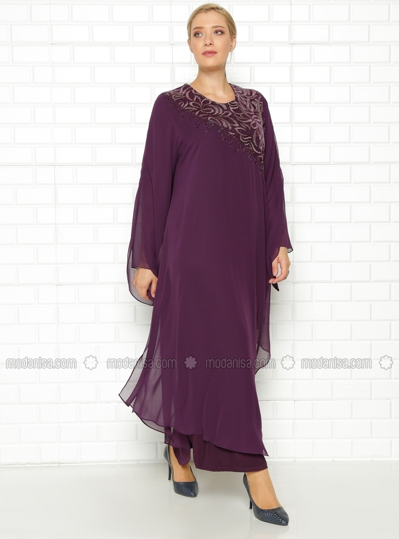 2 piece purple plus size dress