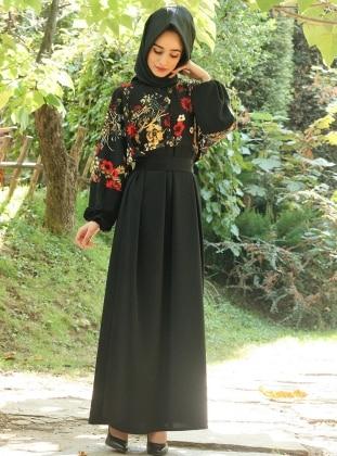 Çiçek Detaylı Elbise - Siyah