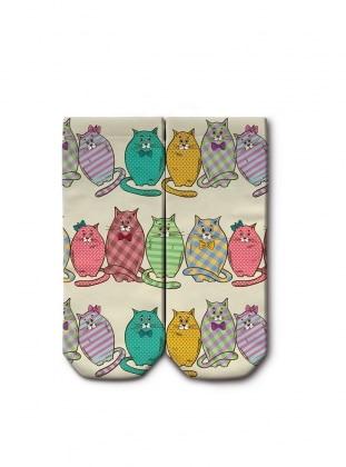 Digital Printed booties Socks - Beige