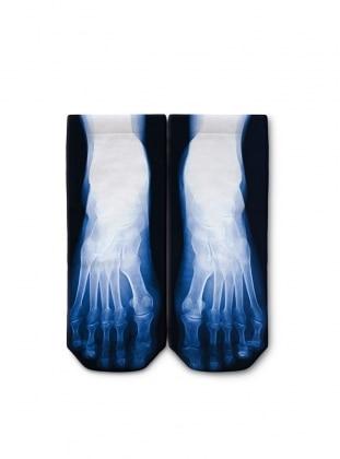 Dijital Baskılı Patik Çorap - Mavi