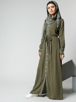 Natürel Kumaşlı Puantiyeli Elbise - Haki