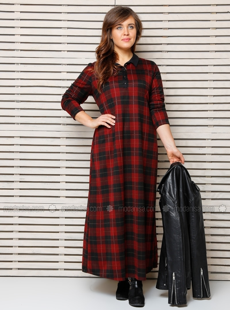plaid Dress - Maroon - Plus Size Dress - Modanisa