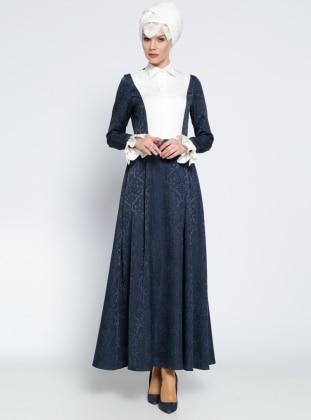 Desenli Elbise - Lacivert