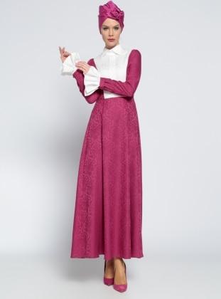 Mustafa Dikmen Desenli Elbise - Mürdüm