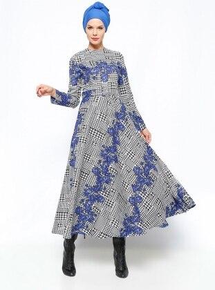 Desenli Elbise - Saks