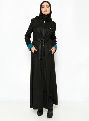 Fermuarlı Pardesü- Siyah