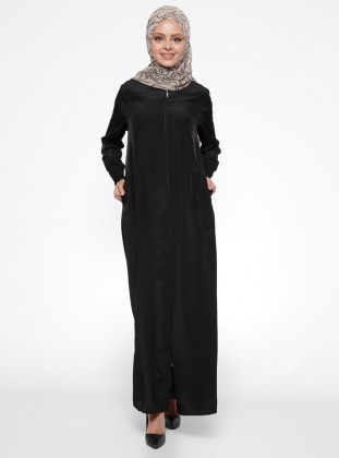 Black - Unlined - Polo neck - Abaya - ModaNaz 240469