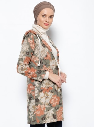 Kapüşonlu Ceket - Haki Selma Sarı Design