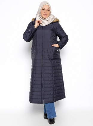 Plus Size Overcoat - Navy Blue - Hanımsa