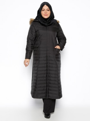 Plus Size Overcoat - Black - Hanımsa