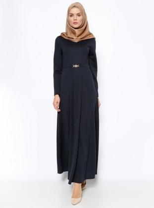 Kemer Süslü Elbise - Lacivert