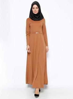 Kemer Süslü Elbise - Taba