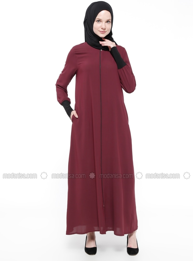 Maroon - Unlined - Polo neck - Abaya
