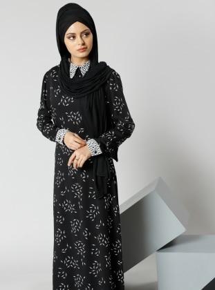 Natürel Kumaşlı Güpür Detaylı Elbise - Siyah