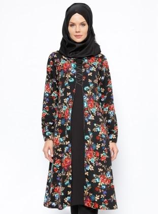 Çiçekli Tunik - Siyah