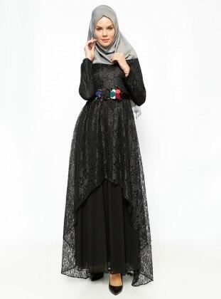 Dantel Detaylı Abiye Elbise - Siyah BÜRÜN