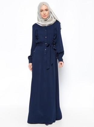 Topless Düğme Detaylı Elbise - Lacivert