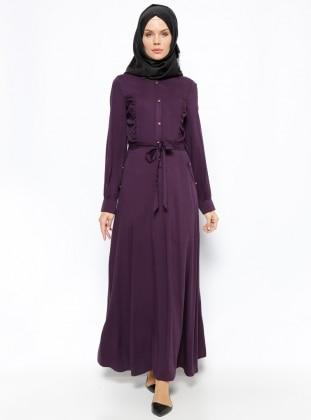 Düğme Detaylı Elbise - Mor