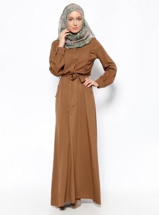 Düğme Detaylı Elbise - Taba