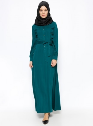 Düğme Detaylı Elbise - Zümrüt