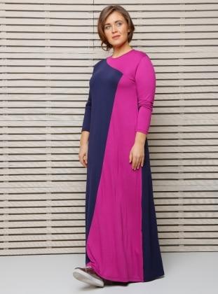 Garnili Elbise - Lacivert Fuşya Alia