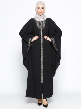 Gizli Fermuarlı Abaya - Siyah