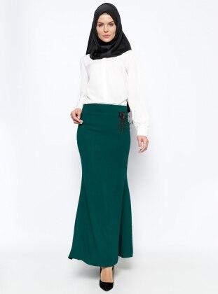 Güpür Detaylı Etek - Yeşil Sevilay Giyim