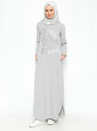 Taşlı Elbise - Gri ALLDAY
