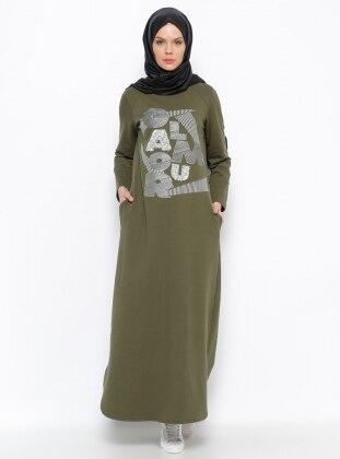 Taşlı Elbise - Haki ALLDAY